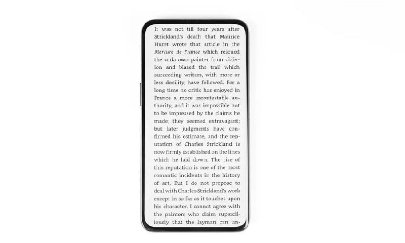 oppo prototype phone with an e-reader app